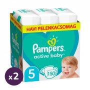 Pampers Active Baby pelenka, Junior 5, 11-16 kg, 1+1, 300 db + AJÁNDÉK Pampers Pure kókuszos törlőkendő 2x42 db