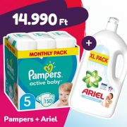 Pampers Active Baby pelenka, Junior 5, 11-16 kg, 150 db + Ariel Sensitive mosógél