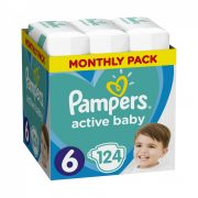 Pampers Active Baby Junior+ 6, 13-18 kg, HAVI PELENKACSOMAG 124 db