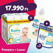 Pampers Premium Care pelenka, Maxi 4, 9-14 kg, 168 db + 2 csomag Lenor mosókapszula + öblítő