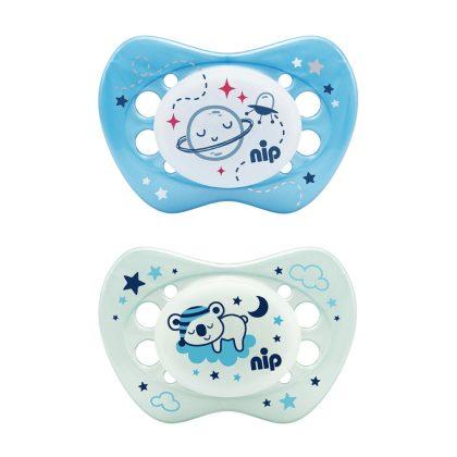 Nip Night szilikon éjszakai világító játszócumi 0-6 hó 2 db (rózsaszín csillag, lila vízlió)