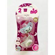 Nip night szilikonos játszócumi világítós 5-18 hóig 2 db csillagos és vízilovas mintával