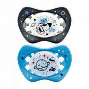 Nip Night szilikon éjszakai világító játszócumi 5-18 hó 2 db (szürke, kék) - űrhajó, bolygó