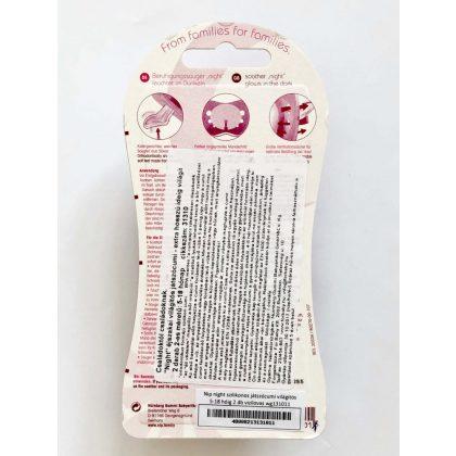Nip Night szilikon éjszakai világító játszócumi 5-18 hó 2 db (rózsaszín, lila) - elefánt, viziló