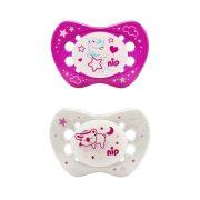 Nip night szilikonos játszócumi világítós 16-32 hóig 2db víziló és elefánt mintával