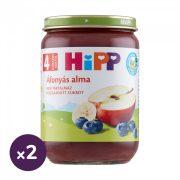 Hipp BIO áfonyás alma, 4 hó+ (2x190 g)