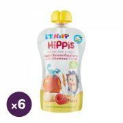 Hipp HiPPiS BIO gyümölcspép alma-banán-málna teljes kiőrlésű gabonával, 6 hó+ (6x100 g)