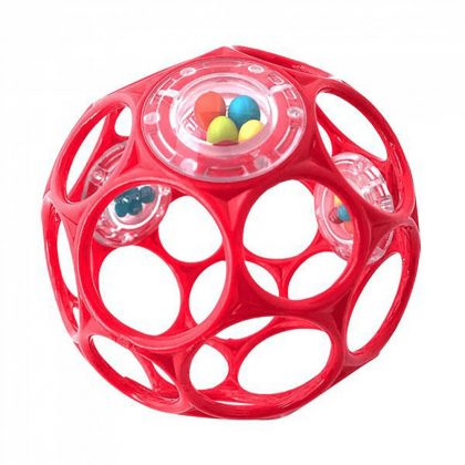 Oball csörgős játék 10 cm - piros (0 hó+)
