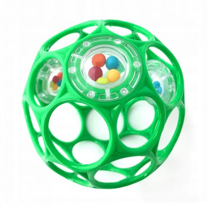 Oball csörgős játék 10 cm - zöld (0 hó+)