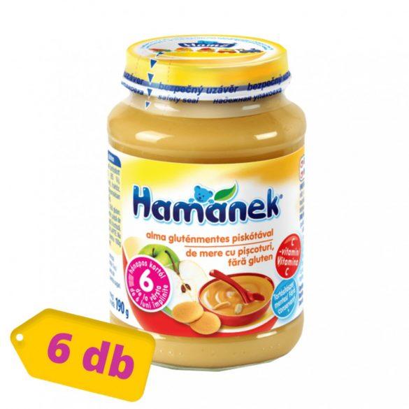 Hamánek bébidesszert alma - gluténmentes piskótával, 6 hó+ (6x190 g)
