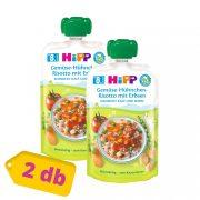 Hipp BIO zöldséges-csirkés rizottó zöldborsóval, 8 hó+ (2x130 g) - tasakos menü