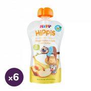 Hipp HiPPiS BIO gyümölcspép alma-banán-őszibarack keksszel, 12 hó+ (6x100 g)