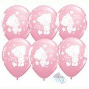 Rózsaszín macis Happy Birthday lufi - 28 cm (6 db)