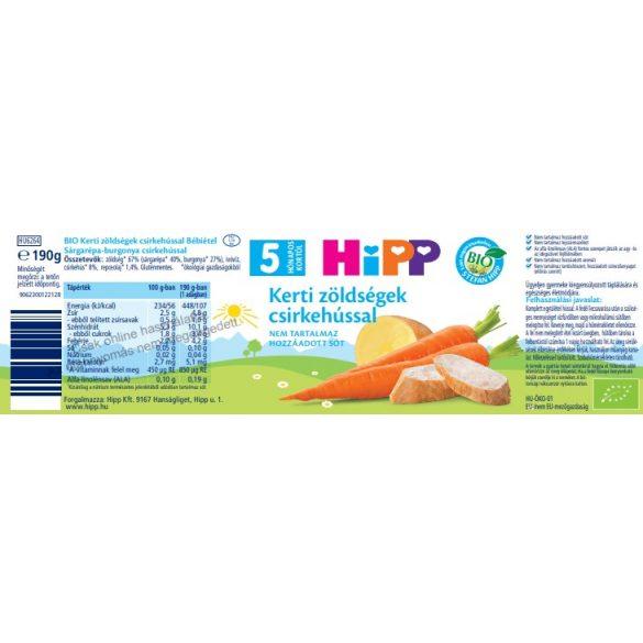 Hipp BIO kerti zöldségek csirkehússal, 5 hó+ (2x190 g)