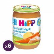 Hipp BIO kerti zöldségek csirkehússal, 5 hó+ (6x190 g)