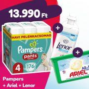 Pampers Pants bugyipelenka, Maxi 4, 9-15 kg, 176 db + Ariel mosókapszula + Lenor öblítő