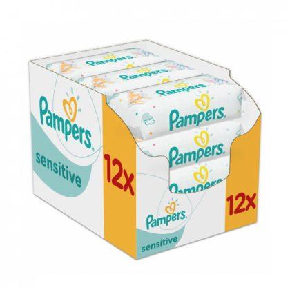 CSOMAGOLÁSSÉRÜLT - Pampers Sensitive nedves törlőkendő 12x56 db