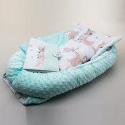 MauKids Újszülött szett: babafészek, takaró, pelenkázó szett - menta