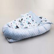 MauKids Újszülött szett: babafészek, takaró, pelenkázó szett - kék