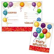 Léggömbös parti meghívó borítékkal (8 db)