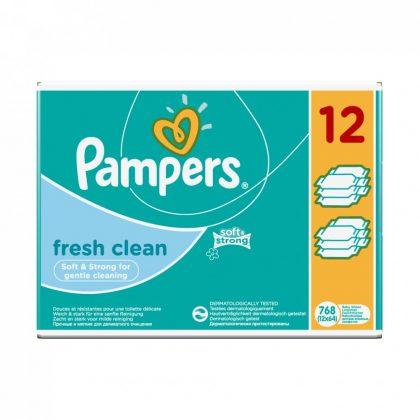 CSOMAGOLÁSSÉRÜLT - Pampers Fresh Clean nedves törlőkendő 12x64 db