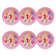 Léggömbös rózsaszín parti tányér Boldog 1. Szülinapot! felirattal - 23 cm (6 db)