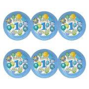 Léggömbös kék parti tányér Boldog 1. Szülinapot! felirattal - 23 cm (6 db)