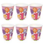 Léggömbös rózsaszín parti pohár Boldog 1. szülinapot! felirattal - 250 ml (6 db)