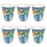 Léggömbös kék parti pohár Boldog 1. szülinapot! felirattal - 250 ml (6 db)