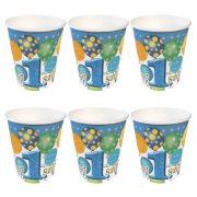 Léggömbös kék papír parti Boldog 1. szülinapot! felirattal - 250 ml (6 db)