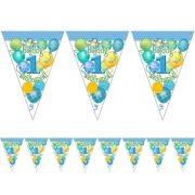 Léggömbös kék zászlófűzér Boldog 1. Szülinapot! felirattal (5 m)