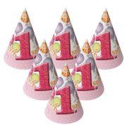 Léggömbös rózsaszín parti csákó Boldog 1. Szülinapot! felirattal - 15,5 cm (6 db)