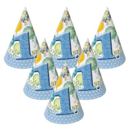 Léggömbös kék parti csákó Boldog 1. Szülinapot! felirattal - 15,5 cm (6 db)
