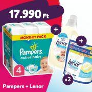 Pampers Active Baby pelenka, Maxi 4, 9-14 kg, 180 db + 2 csomag Lenor mosókapszula + öblítő
