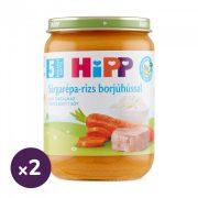 Hipp BIO sárgarépa-rizs borjúhússal, 5 hó+ (2x190 g)