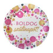 Rózsaszín pasztell konfettis parti tányér Boldog Szülinapot! felirattal - 23 cm (6 db)