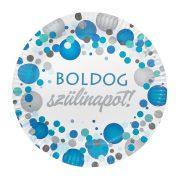 Kék pasztell konfettis parti tányér Boldog Szülinapot! felirattal - 23 cm (6 db)