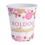 Rózsaszín pasztell konfettis parti papír pohár Boldog Szülinapot! felirattal - 250 ml (6 db)