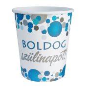 Kék pasztell konfettis parti papír pohár Boldog Szülinapot! felirattal - 250 ml (6 db)