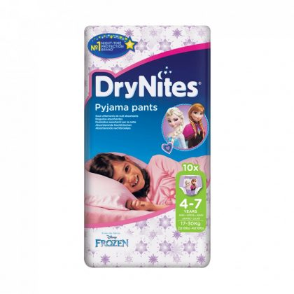 CSOMAGOLÁSSÉRÜLT - Huggies Drynites éjszakai pelenka 4-7 éves korú lánynak (17-30 kg), 10 db