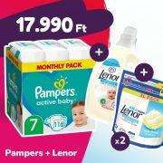 Pampers Active Baby pelenka, XL 7, 15 kg+, 116 db + 2 csomag Lenor mosókapszula + öblítő