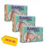 Bambo Nature pelenka, Koraszülött 0, 1-3 kg HAVI PELENKACSOMAG 3x24 db