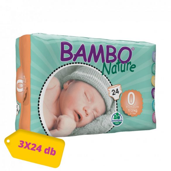 Bambo Nature pelenka, Koraszülött 0, 1-3 kg, HAVI PELENKACSOMAG 3x24 db