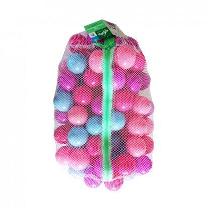 100 darabos műanyag labda zárható hálóban - lányos színek