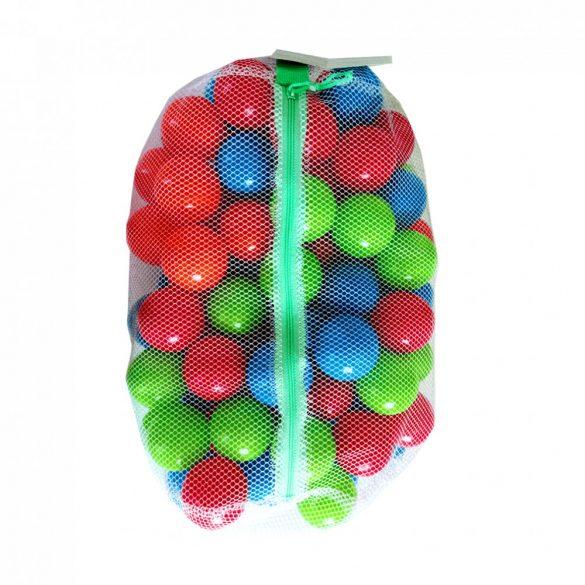 100 darabos műanyag labda zárható hálóban - vegyes színek