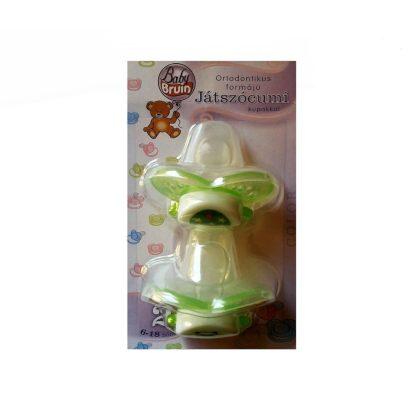 BabyBruin ortodonikus szilikon játszócumi kupakkal 6-18 hó 2 db (zöld)