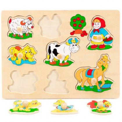 Fa fogantyús puzzle - bárányos