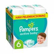 Pampers Active Baby pelenka, Junior 6, 13-18 kg, HAVI PELENKACSOMAG 128 db + AJÁNDÉK Pampers Pure kókuszos törlőkendő 42 db
