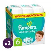 Pampers Active Baby pelenka, Junior 6, 13-18 kg, 1+1, 256 db + AJÁNDÉK Pampers Pure kókuszos törlőkendő 2x42 db