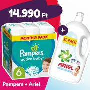 Pampers Active Baby pelenka, Junior 6, 13-18 kg, 128 db + Ariel Sensitive mosógél